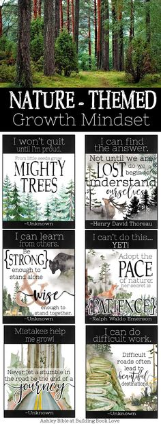 Natural Classroom decor – Nature Themed Growth Mindset Posters Wilderness, Woodland, Rustic Decor… - New Deko Sites What Is Growth Mindset, Growth Mindset Lessons, Growth Mindset Classroom, Growth Mindset Activities, Growth Mindset Posters, Fixed Mindset, Forest Theme Classroom, Classroom Decor Themes, Outdoor Classroom