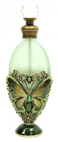 Well Jeweled Green Oval Shaped Perfume Bottle  http://www.addisoncollection.net/welpb683.html