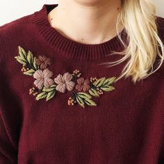 Your place to buy and sell all things handmade Hand embroidered sweater. Embroidery On Kurtis, Kurti Embroidery Design, Embroidery On Clothes, Flower Embroidery Designs, Simple Embroidery, Embroidery On Tshirt, Hand Embroidery Dress, Embroidered Clothes, Embroidery Fashion