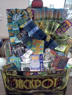 Jackpot lottery basket with cups of chocolate place your order today email. Casino Night Party, Casino Theme Parties, Party Themes, Emmanuelle Alt, Raffle Baskets, Gift Baskets, Casino Royale, Lottery Ticket Gift, Bond