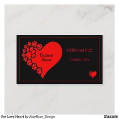 Pet Love Heart Business Card Business Card Design, Business Cards, Holiday Cards, Christmas Cards, Christmas Card Holders, Hand Sanitizer, Love Heart, Keep It Cleaner, I Shop