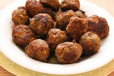 Love these Greek Meatballs, made with no breadcrumbs and just a touch of Feta!  [from Kalyn's Kitchen] #LowCarb #GlutenFree