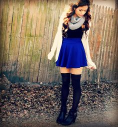 -cute white cardigan black top, blue skater skirt, over the knee high black socks, black booties fall outfit-