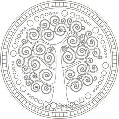 Plantilla de árbol mandala Más