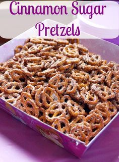 Sugar Pretzels These Cinnamon Sugar Pretzels are perfect for any party! They are kid and adult friendly!These Cinnamon Sugar Pretzels are perfect for any party! They are kid and adult friendly! Snack Mix Recipes, Yummy Snacks, Appetizer Recipes, Delicious Desserts, Cooking Recipes, Yummy Food, Snack Mixes, Quick Snacks, Cinnamon Sugar Pretzels
