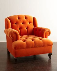 """Orange Obsession! I love the comfort and style of this chair. If I were a chair I would want to be large and in charge screaming, """"look at me"""""""