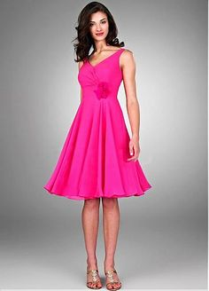 Stunning Chiffon A-line V-neck Neckline Short Bridesmaid Dress