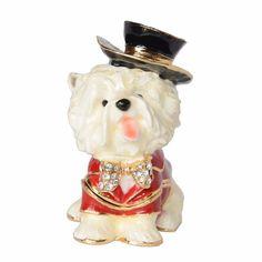 Treasured Trinkets Yorkshire Terrier Dog Keepsake Box Metal Jewelry Box Dog Miniature Sculpture Birthday Gift