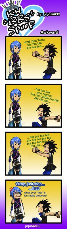 KH Spoof: awkward by on DeviantArt Kingdom Hearts Funny, Kingdom Hearts Games, Kingdom Hearts Fanart, Kh Birth By Sleep, Kindom Hearts, Look In The Mirror, Best Games, Final Fantasy, Awkward