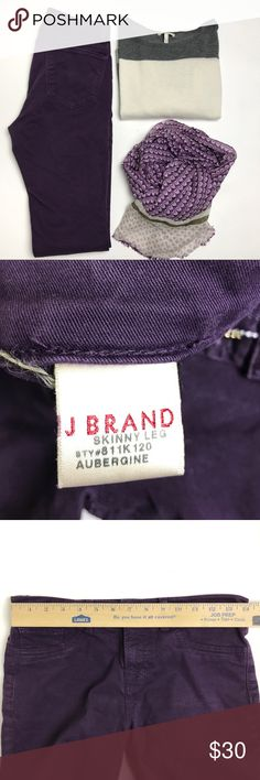J Brand Purple Skinny Jeans Great condition J Brand skinny jeans in aubergine (deep purple). No stains, damage or flaws. Made in USA. J Brand Jeans Skinny