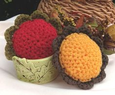 2 Scour Pad Flowers Nylon Scrubbie Dish Pot by BillyGoatsBuffet