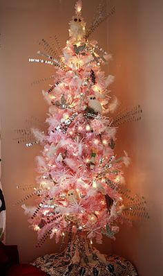 Cristhmas Tree Decorations Ideas : Pink and silver Christmas tree Flocked Christmas Trees, Unique Christmas Trees, Silver Christmas Tree, Noel Christmas, Victorian Christmas, Holiday Tree, Xmas Tree, All Things Christmas, Beautiful Christmas