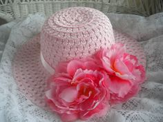 Girls pink Easter hat with vibrant flowers by IsabellasHatsandBows, $13.95 -Custom Easter Bonnets