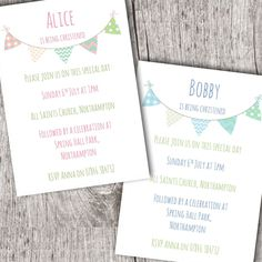 Personalised Invitations • Christening ~ Baptism ~ Naming Day • Girl/Boy Bunting in Home, Furniture & DIY, Celebrations & Occasions, Cards & Stationery   eBay