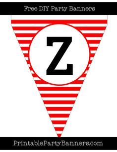 Red and White Pennant Horizontal Striped Capital Letter Z