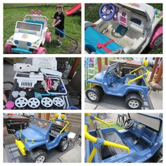 Making a Barbie jeep into a boy jeep!  1. Wash jeep 2. Disassemble jeep 3. Spray paint all the pieces  4. Let everything dry 5. Reassemble jeep 6. Ready to drive!  This is a pretty easy way to change a Barbie jeep into a boy jeep! And it's a lot less expensive!