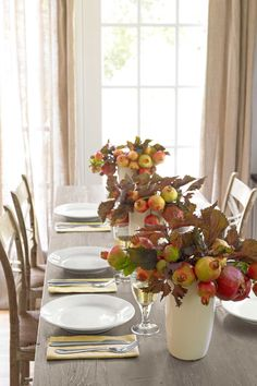 Create a Pomegranate Centerpiece: persimmons and apples, too