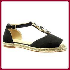 645c0f613a9c8a Angkorly - damen Schuhe Espadrilles Sandalen - T-Spange - Schmuck - Strass  - Seil Blockabsatz 2 CM - Schwarz RS126 T 37 - Espadrilles für frauen ...
