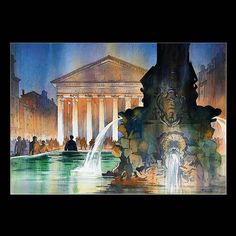 Marvelous #watercolor #illustration by Thomas Schaller (@thomaswschaller) of the #FontanadelPantheon the #fountain that sits in the center of the #piazza in front of the #Pantheon in #Rome #Italy. The #water pouring from the fountain is incredibly realistic!  Thomas captured this classical example of #Roman #architecture beautifully. From the faces and other #architectural details on the fountain to the straight lines and #scrollwork of the #Corinthian #columns that support the roof overhang…