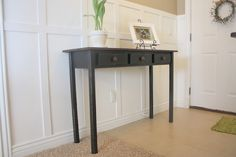 Easily make this entry table following instructions and pics at Country Girl Home DIY BLog. Cheap furniture - that means I can redecorate more often!