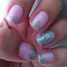 """Summer'12  1 coat of Essie- """"Guchi Muchi Puchi"""" & Glitter Nails. 1 of """"Pink a boo""""  Accent- 1 coat of Essie- """"Body Language"""" & 1 of OPI """"Save Me"""""""