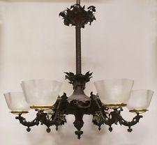 6-arm Cornelius & Baker Gas Fixture 1850's Gasolier Chandelier Light Lamp