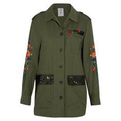 Bestickte Jacke aus einer Baumwollmischung mit Pailletten
