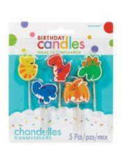 Dinosaur Birthday Toothpick Candles 5ct