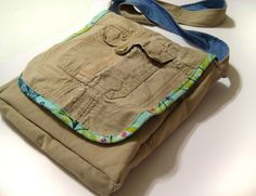 Tutorial: Messenger Bag from Cargo Pants - make it a backpack for boys!