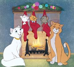 *DUCHESS, MARIE, TOULOUSE, BERLIOZ & THOMAS O'MALLEY ~ The Aristocats, 1970