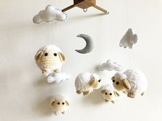 ♥ WELCOME TO IVORY TREE HOUSE ♥  All items are made from my heart with love for smiles of all children and family :)  Detail :  - Sheep : They are made of hand crocheted acrylic yarn and stuffed with polyfill.  Size : 4.0 x 3.0 inches  - Moon and Clouds : They are made of felt and stuffed with polyfill. Moon size : 3 inches Cloud size : 4 x 2 inches  - Overall drop from top mobile hanger to the bottom of sheep : 17 inches  - Mobile hanger made from teak wood matt cleared coated size : 12 x…