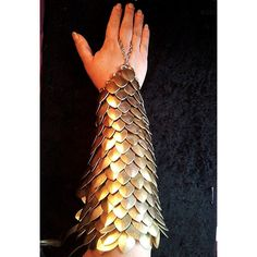 GOLD Scalemail full arm bracer DragonScale chainmail armor LARP... ($75) ❤ liked on Polyvore featuring armor, accessories and gloves