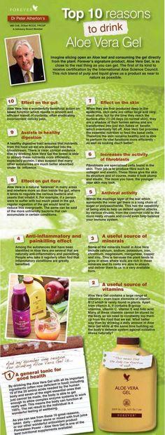 Top 10 reasons to drink Aloe Vera Gel #Forever-Living http://myflpbiz.com/esuite/home/ukforeverlivingproducts