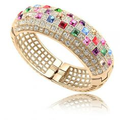 [Visit to Buy] Nidalee New Exclusive Design Exaggerated Queen Fashion Crystal Bangle Gold Plate Crystal From Swarovski Bracelets Jewelry The Bangles, Gold Plated Bracelets, Love Bracelets, Gold Bangles, Crystal Bracelets, Bangle Bracelets, Bracelet Watch, Bangle Box, Crystal Rhinestone