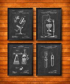 SET of 4 SCIENCE Posters Vintage Patent Illustration par UltraPrint