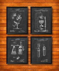 SET of 4 SCIENCE Posters Vintage Patent Illustration by UltraPrint