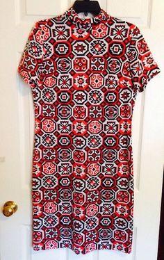 VTG Mod JOAN CURTIS Boho Straight Shift DRESS Large Medium Form Fit Orange Brown  | eBay