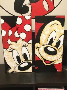 Draw Disney, Disney Drawings, Disney Art, Mickey Mouse Art, Minnie Mouse, Pintar Disney, Walt Disney, Disney Canvas Art, Disney Kunst