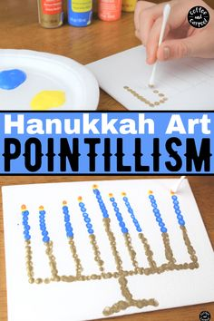 Celebrate Hanukkah with this Hanukkah art project using dots to create a menorah. Looking for a simple art project for your preschool and elementary aged kids this Hanukkah? This art project uses pointillism to practice fine motor control. A great activity that the entire family can enjoy. #Hanukkah #Chanukkah #Hanukkahcraft #Hanukkahart #Hanukkahactivities Hanukkah For Kids, Hanukkah Lights, Hanukkah Crafts, Jewish Crafts, Easy Art Projects, Projects For Kids, Fun Activities For Kids, Art Activities, Kid Friendly Art