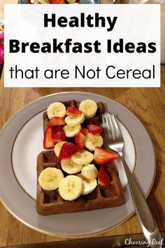 It turns out there are lots of healthy breakfast ideas that my kids will eat quickly. For the longest time, I was afraid to branch out beyond cereal for breakfast on school mornings. Waffle Toppings, Waffle Recipes, Oatmeal Recipes, Snack Recipes, Healthy Snacks, Healthy Breakfasts, Healthy Recipes, How To Make Waffles, New Recipes For Dinner