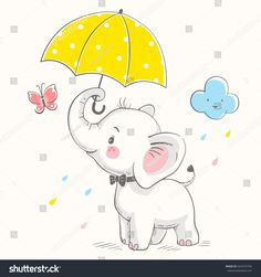 Cute elephant with umbrella cartoon hand drawn vector illustration. Can be used for t-shirt print, kids wear fashion design, baby shower celebration greeting and invitation card - buy this stock vector on Shutterstock & find other images. Elephant Illustration, Cute Illustration, Umbrella Cartoon, Baby Shower Shirts, Baby Elefant, Illustrator, Baby Shower Invitation Cards, Cute Elephant, Elephant Images