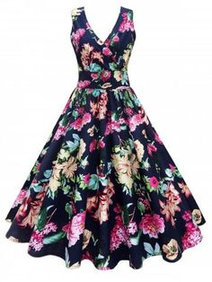 Midi Surplice Floral Vintage Dress