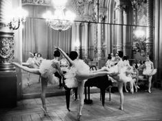 Ballerinas at the Paris Opera Doing Their Barre in Rehearsal Room Premium Photographic Print by Alfred Eisenstaedt at Art.com