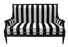 Old Hollywood sofa. Black & white stripes #obsessed