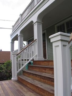 porch steps all wood?front porch steps all wood? Glomar, Outdoor White Hanging Lantern with Clear Beveled Glass, at The Home Depot - Mobile Front Porch Remodel Stairs, Wood Steps, Porch Remodel, Front Porch Steps, Craftsman Porch, Remodel, Step Railing, Traditional Porch, Porch Design