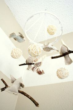 bird mobile - Shades Of White Baby Room - traditional - kids - dallas - The Virginia House