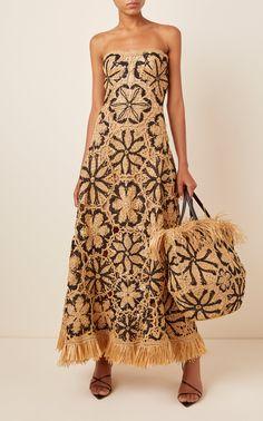 Micus Crochet Raffia Tote by Oscar de la Renta Streetwear Mode, Streetwear Fashion, Cheap Streetwear, Dress Skirt, Dress Up, Crochet Fashion, Fashion Looks, Fashion Tips, Fashion History