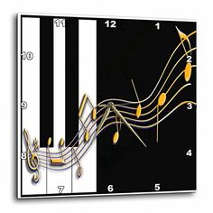 Beverly Turner Photography Gold Music Notes on Piano Keys Wall Clock 10 by 10Inch *** Continue to the product at the image link.