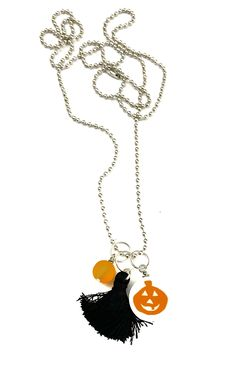 Pumpkin with White Background Necklace