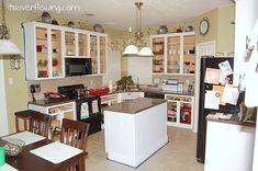 Kitchen: Painting Cabinets & Recessed Lights {Our Two Story} - Its Overflowing Kitchen Store, Kitchen Redo, Kitchen Remodel, Track Lighting Fixtures, Lithonia Lighting, Kitchen Island Lighting, Ranch Style Homes, Painting Cabinets, Dining Area